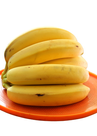 The bananas on a plate, isolated