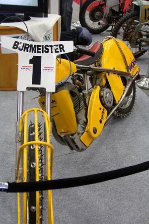 tage: HAMBURG, GERMANY - FEBRUARY 22: The yellow motorcycle on February 22, 2014 at HMT (Hamburger Motorrad Tage) expo, Hamburg, Germany. HMT is a large motorcycle expo