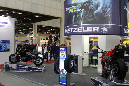 tage: HAMBURG, GERMANY - FEBRUARY 22: The expo stand on February 22, 2014 at HMT (Hamburger Motorrad Tage) expo, Hamburg, Germany. HMT is a large motorcycle expo Editorial
