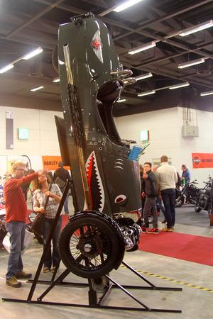 tage: HAMBURG, GERMANY - FEBRUARY 22: The retro car on February 22, 2014 at HMT (Hamburger Motorrad Tage) expo, Hamburg, Germany. HMT is a large motorcycle expo