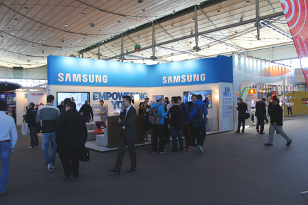 samsung: HANNOVER, GERMANY - MARCH 13: Stand of Samsung on March 13, 2014 at CEBIT computer expo, Hannover, Germany. CeBIT is the worlds largest computer expo