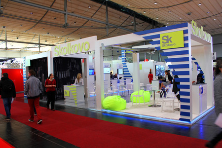 HANNOVER, GERMANY - MARCH 13: Stand of Skolkovo on March 13, 2014 at CEBIT computer expo, Hannover, Germany. CeBIT is the worlds largest computer expo