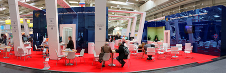 HANNOVER, GERMANY - MARCH 13: Stand of russian ministry of educations and science on March 13, 2014 at CEBIT computer expo, Hannover, Germany. CeBIT is the worlds largest computer expo