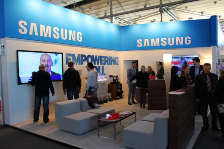 HANNOVER, GERMANY - MARCH 13: Stand of Samsung on March 13, 2014 at CEBIT computer expo, Hannover, Germany. CeBIT is the worlds largest computer expo