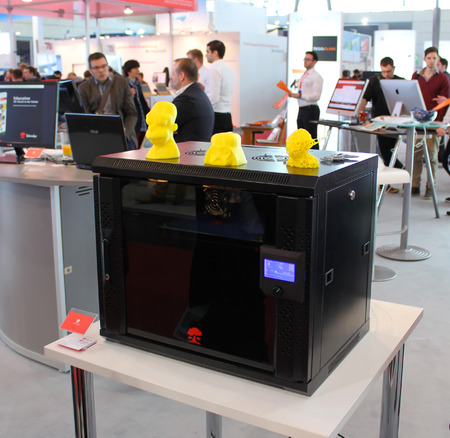 HANNOVER, GERMANY - MARCH 13  The 3D Printer on March 13, 2014 at CEBIT computer expo, Hannover, Germany  CeBIT is the world s largest computer expo Editorial