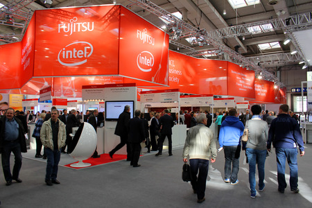 HANNOVER, GERMANY - MARCH 13: Stand of Fujitsu Intel on March 13, 2014 at CEBIT computer expo, Hannover, Germany. CeBIT is the worlds largest computer expo