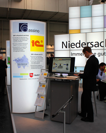 HANNOVER, GERMANY - MARCH 13: Stand of Niedersachsen on March 13, 2014 at CEBIT computer expo, Hannover, Germany. CeBIT is the worlds largest computer expo