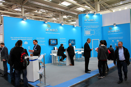 HANNOVER, GERMANY - MARCH 13: The stand of Airwatch on March 13, 2014 at CEBIT computer expo, Hannover, Germany. CeBIT is the worlds largest computer expo