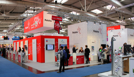 HANNOVER, GERMANY - MARCH 13: The stand of Poland on March 13, 2014 at CEBIT computer expo, Hannover, Germany. CeBIT is the worlds largest computer expo