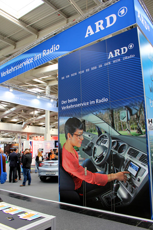 ard: HANNOVER, GERMANY - MARCH 13: The stand of ARD on March 13, 2014 at CEBIT computer expo, Hannover, Germany. CeBIT is the worlds largest computer expo