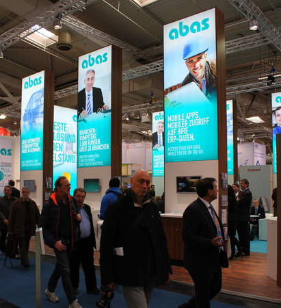 HANNOVER, GERMANY - MARCH 13: The stand of Abas on March 13, 2014 at CEBIT computer expo, Hannover, Germany. CeBIT is the worlds largest computer expo Editorial