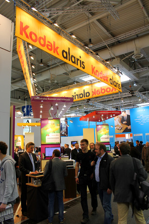 kodak: HANNOVER, GERMANY - MARCH 13: The stand of Kodak on March 13, 2014 at CEBIT computer expo, Hannover, Germany. CeBIT is the worlds largest computer expo