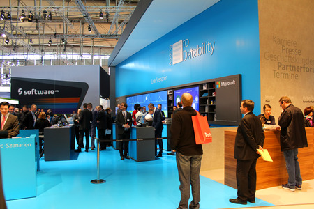 microsoft: HANNOVER, GERMANY - MARCH 13: The stand of Microsoft on March 13, 2014 at CEBIT computer expo, Hannover, Germany. CeBIT is the worlds largest computer expo Editorial