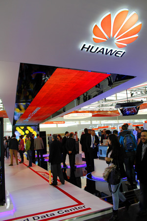 HANNOVER, GERMANY - MARCH 13: The Stand of Huawei on March 13, 2014 at CEBIT computer expo, Hannover, Germany. CeBIT is the world's largest computer expo
