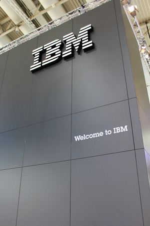 HANNOVER, GERMANY - MARCH 13: The stand of IBM on March 13, 2014 at CEBIT computer expo, Hannover, Germany. CeBIT is the worlds largest computer expo Editorial