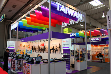HANNOVER, GERMANY - MARCH 13  The stand of Taiwan on March 13, 2014 at CEBIT computer expo, Hannover, Germany  CeBIT is the world
