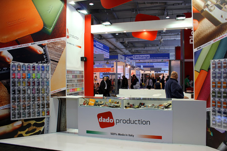 HANNOVER, GERMANY - MARCH 13: The stand of Dado Rroduction on March 13, 2014 at CEBIT computer expo, Hannover, Germany. CeBIT is the worlds largest computer expo