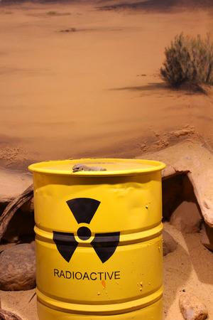 Lizard on a barrel of radioactive waste photo