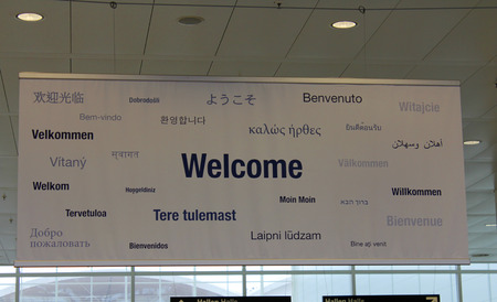multilingual: Wellcome multilingual poster Stock Photo