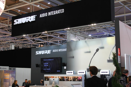 shure: HANNOVER, GERMANY - MARCH 20: The stand of Shure on March 20, 2015 at CEBIT computer expo, Hannover, Germany. CeBIT is the worlds largest computer expo