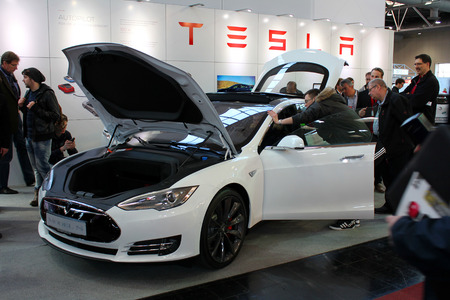 HANNOVER, GERMANY - MARCH 20: The stand of Tesla Motors on March 20, 2015 at CEBIT computer expo, Hannover, Germany. CeBIT is the worlds largest computer expo