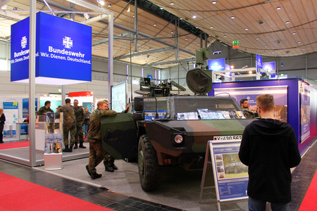 fames: HANNOVER, GERMANY - MARCH 20: stand of Germany Army on March 20, 2015 at CEBIT computer expo, Hannover, Germany. CeBIT is the worlds largest computer expo Editorial