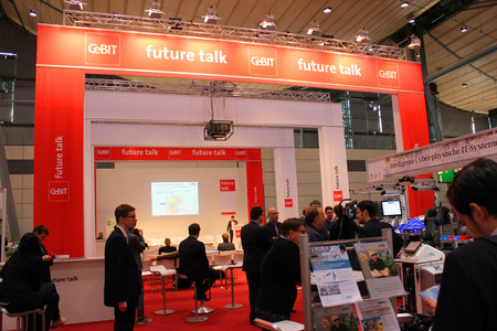 expo: HANNOVER, GERMANY - MARCH 20: The Future Talk on March 20, 2015 at CEBIT computer expo, Hannover, Germany. CeBIT is the worlds largest computer expo