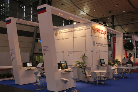ministry: HANNOVER, GERMANY - MARCH 20: The stand of Ministry of Education and Science of the Russian Federation on March 20, 2015 at CEBIT computer expo, Hannover, Germany. CeBIT is the worlds largest computer expo Editorial