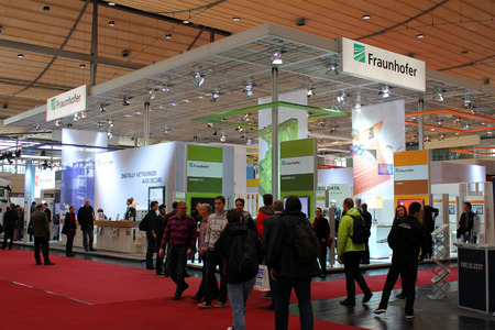 expo: HANNOVER, GERMANY - MARCH 20: The stand of Fraunhofer on March 20, 2015 at CEBIT computer expo, Hannover, Germany. CeBIT is the worlds largest computer expo Editorial
