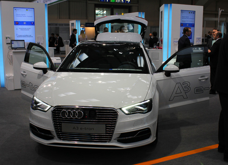 a3: HANNOVER, GERMANY - MARCH 20: The Audi A3 E-Tron on March 20, 2015 at CEBIT computer expo, Hannover, Germany. CeBIT is the worlds largest computer expo Editorial