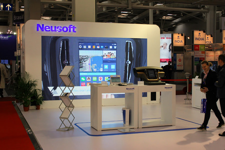 HANNOVER, GERMANY - MARCH 20: The stand of Neusoft on March 20, 2015 at CEBIT computer expo, Hannover, Germany. CeBIT is the worlds largest computer expo