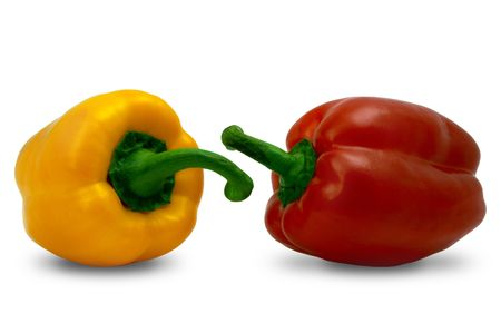 two Bell Peppers, yellow and red, with path