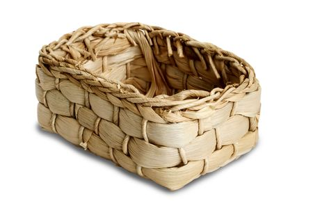 small basket on a white background with path