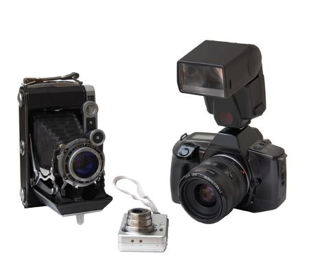The old camera and film camera and digital camera on a white background