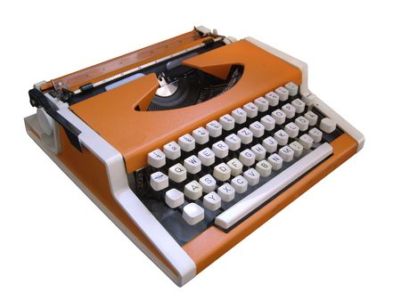 Mechanical typewriter on a white bacground Stock Photo