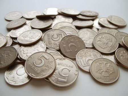 Five roubles a trifle, fine, coins, metal, a background, money, the fee, profit, the income, dividends, the market, delivery