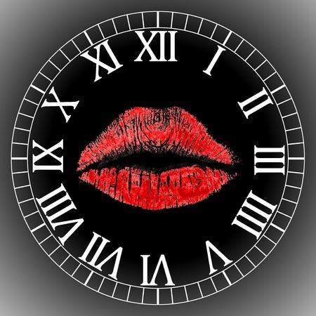 lips clock face Stock Photo - 9088633