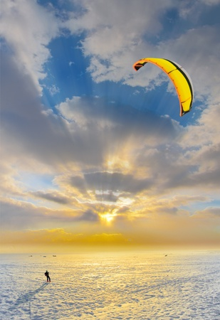 kiting: kite surfing Stock Photo