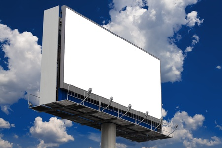 empty billboard without the inscription against a sky with clouds