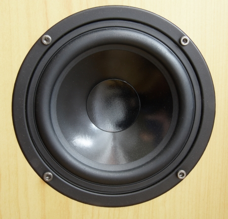 Low frequency loudspeaker with vibrating diaphragm Stock Photo