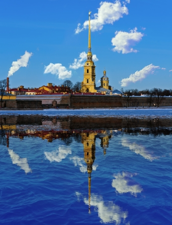 Cathedral of St  Peter and Paul Fortress and its reflection in the Neva River in St  Petersburg Stock Photo