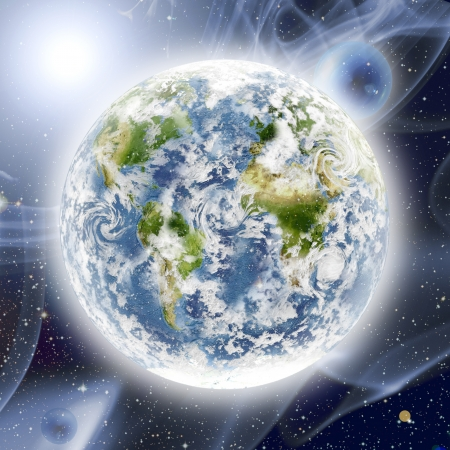 abstract model of Planet Earth in space with bublles