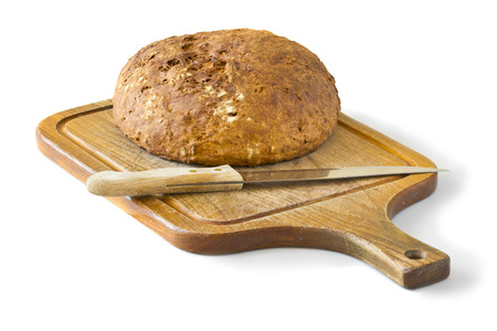 fresh bread with a crispy crust on a wooden board