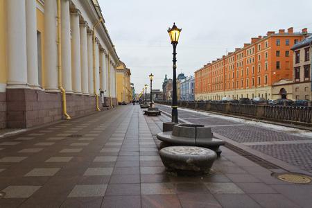 lighted lantern on the promenade in St.-Petersburg