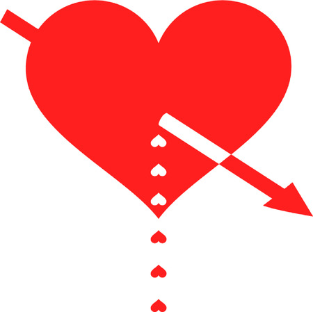 pierced: red heart pierced by an arrow and the ensuing droplets in the form of hearts
