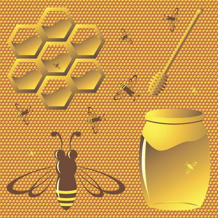 collection of honey related graphics, consisting of three bees, jars of honey and a spoon of honey