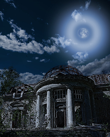 Dilapidated rural  house with a romantic rotunda and garden terrace under niht sky ant moon