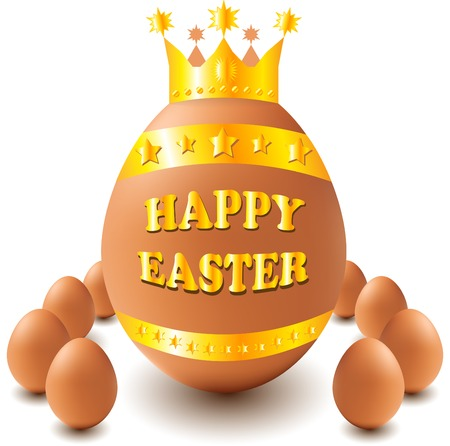 large Easter egg with a crown and little balls around it Stock Photo