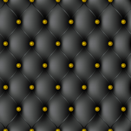 pattern texture black leather upholstery with gold-plated gold buttons