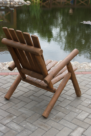 wooden chair: Wooden chair in the Park. Stock Photo